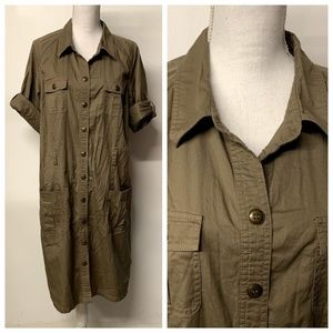 Lane Bryant Army Green Button Front Trench Dress
